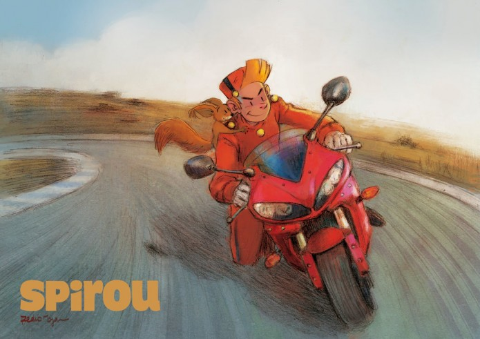 Spirou and Spip on a motorbike (ill. Pedro Moya González; (c) the artist; Spirou (c) Dupuis; image from deviantart.com)