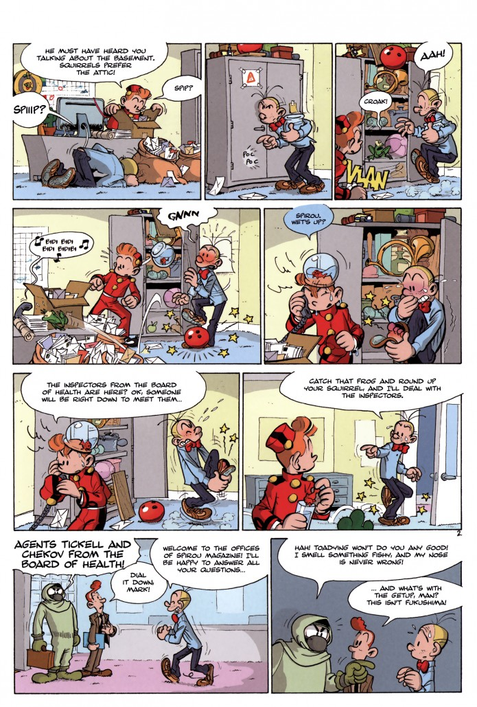 """Where Is Spip?"" p.2 ('Où est Spip ?' from JdS #4010; ill. Pau & Sti; (c) Dupuis and the artists; SR scanlation)"
