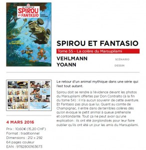 Spirou & Fantasio #55 'La Colère du Marsupilami' entry from the Dupuis publication program (ill. Yoann & Vehlmann; 2015/2016 (c) Dupuis and the artists; image from bdgest.com)