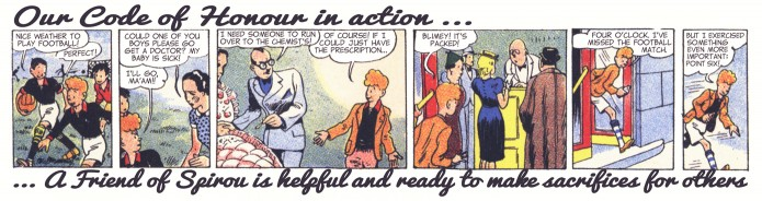 """Friends of Spirou Code of Honor"" 6 ('Les Amis de Spirou Code d'Honneur' 6; ill. Jijé & Jean Doisy; (c) Dupuis and the artists; SR scanlation)"