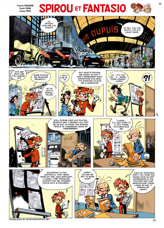 "Spirou & Fantasio #55 ""Wrath of the Marsupilami"" p. 1 ('La Colère du Marsupilami', from JdS #4051-4052; ill. Yoann & Vehlmann; 2015 (c) Dupuis and the artists; image from izneo.com; SR scanlation)"