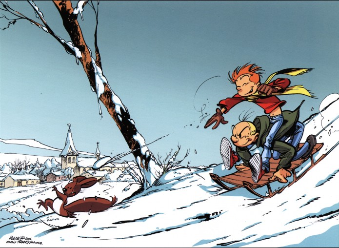 Winter with Spirou & Fantasio and Spip, cover for JdS #3585 (ill. Munuera, after Franquin; Copyright (c) 2006 by Dupuis and the artist)