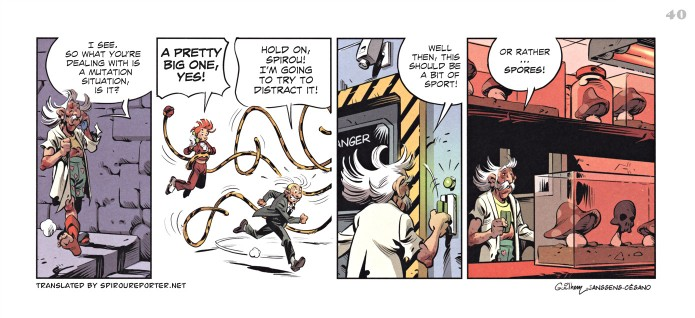 """Spirou's Exquisite Corpse"" p. 40 ('Spirou: Un Cadavre Exquis'; ill. Guilhem & Jean-Louis Janssens; Copyright (c) 2011 Dupuis and the artists; SR scanlation)"