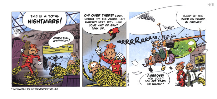 """Spirou's Exquisite Corpse"" p. 41 ('Spirou: Un Cadavre Exquis'; ill. Ian Dairin & Del; Copyright (c) 2011 Dupuis and the artists; SR scanlation)"
