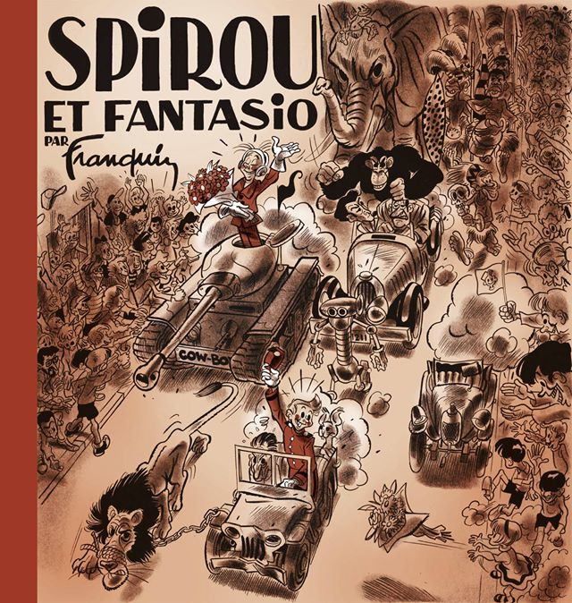 Remake of 'Spirou et Fantasio' album cover, from 'Let Petit livre de la bande dessiné' by Hervé Bourhis & Terreur Graphique (ill. François Ravard after Franquin; Copyright (c) 2014 by Dupuis, Dargaud and the artists; image from tumblr.com)