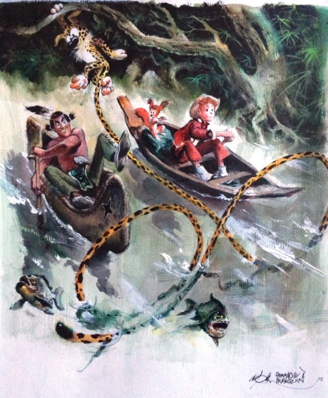 Spirou, Marsupilami and Oumpah-Pah paddling, homag to Franquin - and Uderzo (ill. René Follet; Copyright (c) by the artist; Spirou (c) Dupuis; photo by Dominique Léonard)