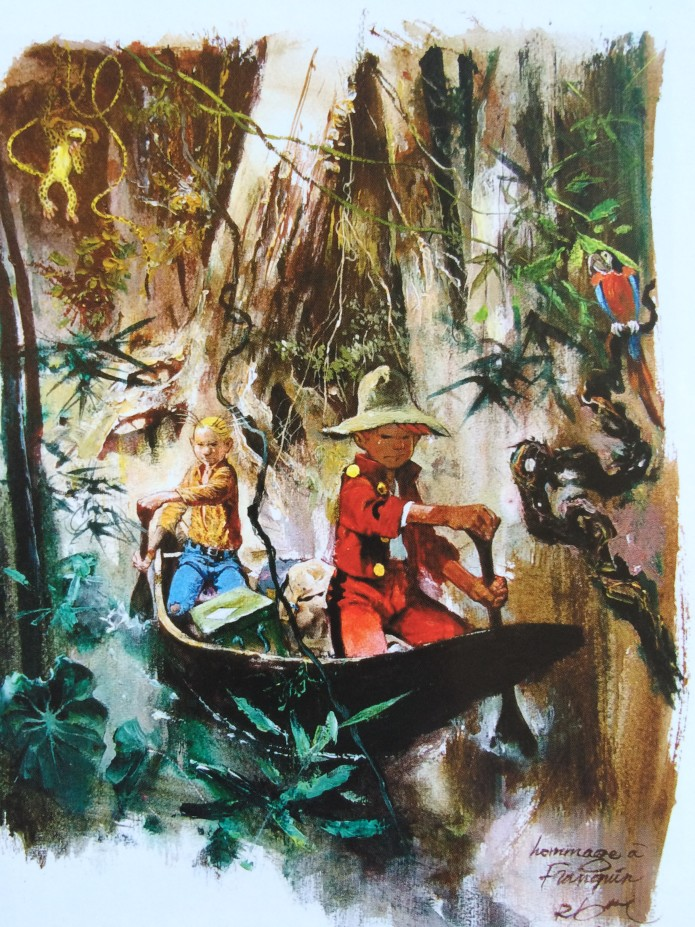Spirou, Fantasio and the Marsupilami in the jungle, homage to Franquin (ill. René Follet; Copyright (c) by the artist; Spirou (c) Dupuis; photo by Dominique Léonard)