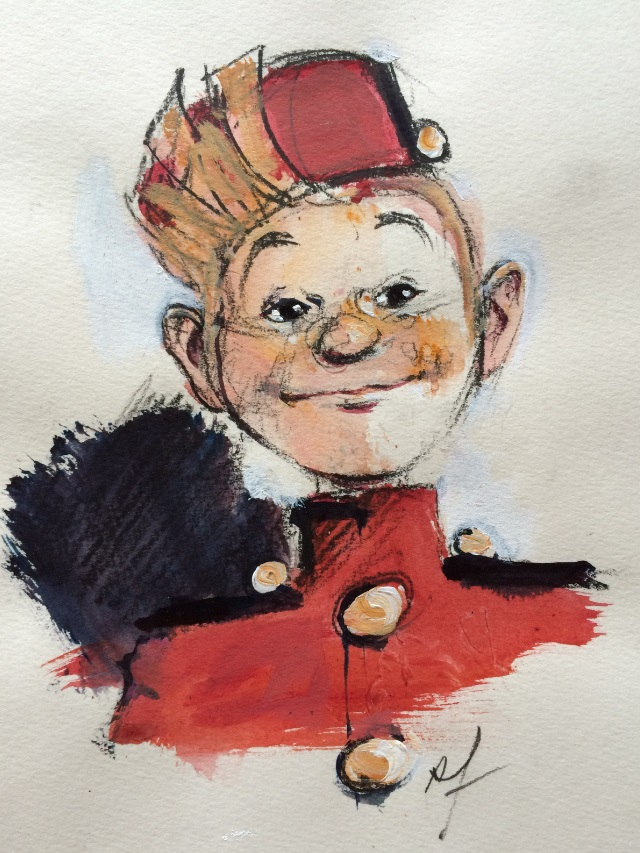 Spirou portrait (ill. René Follet; Copyright (c) by the artist; Spirou (c) Dupuis; photo by Dominique Léonard)