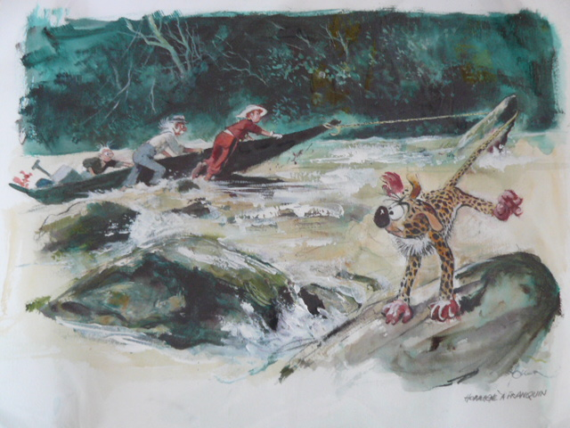 Spirou, Fantasio, Marsupilami and the Count in the river, homage to Franquin (ill. René Follet; Copyright (c) by the artist; Spirou (c) Dupuis; photo by Dominique Léonard)