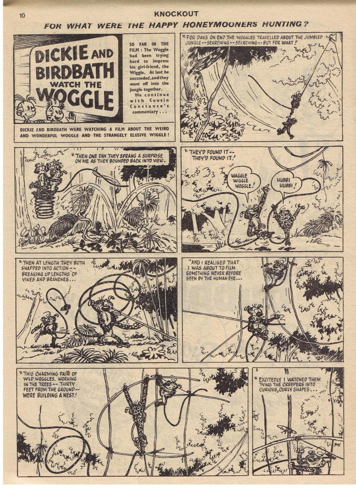 """Dickie and Birdbath Watch the Woggle"" p.1 of episode, from 'Knockout&#039, 2. July 1960 (originally Spirou & Fantasio #12 'Le nid des Marsupilami'; ill. Franquin; Copyright (c) 1957, 1960 by Dupuis, Fleetway Publications and the artist; image from facebook.com, by Steve Bennett)"