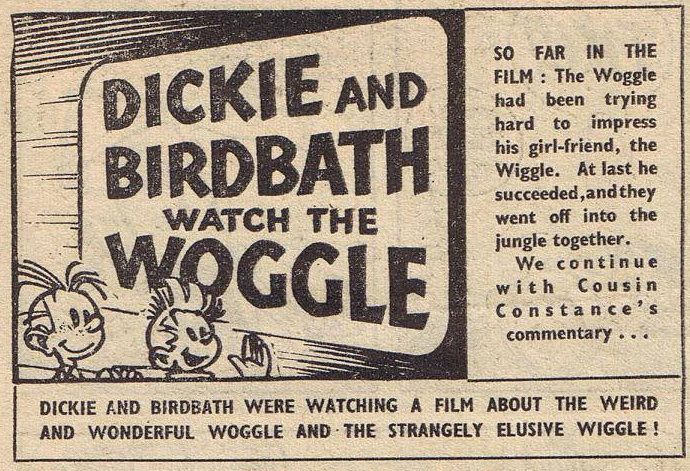 """Dickie and Birdbath Watch the Woggle"" p.1 of episode, excerpt, from 'Knockout' (originally Spirou & Fantasio #12 'Le nid des Marsupilami'; ill. Franquin; Copyright (c) 1957, 1960? by Dupuis, Fleetway Publications and the artist; image from facebook.com, by Steve Bennett)"