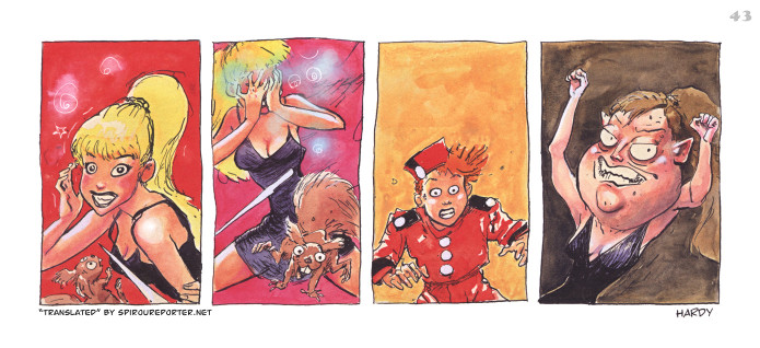"""Spirou's Exquisite Corpse"" p. 43 ('Spirou: Un Cadavre Exquis'; ill. Marc Hardy; Copyright (c) 2011 Dupuis and the artists; SR scan)"