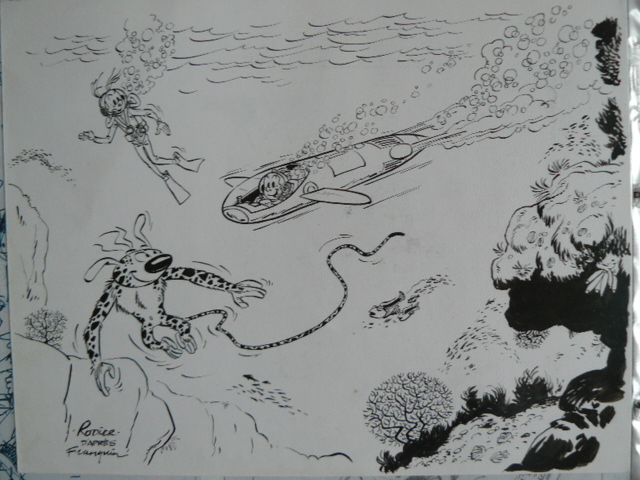 """Lair of the Moray"" fanart (Yves Rodier after Franquin; (c) the artist; Spirou (c) Dupuis; photo by Dominique Léonard)"