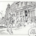 "Spirou outside Les Galeries St. Hubert in Brussels, from 'L'Okapi blanc' (""The White Okapi""; ill. Frank Pé & Zidrou; Copyright (c) 2016 Dupuis and the artist; image from comicscenter.net)"