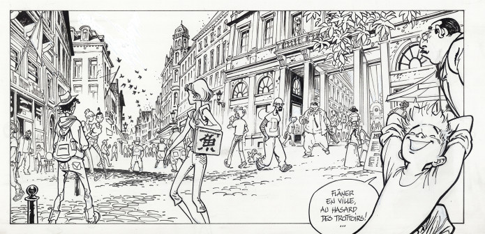 "Spirou outside Les Galeries Royales Saint-Hubert in Brussels, from 'L'Okapi blanc' (""The White Okapi""; ill. Frank Pé & Zidrou; Copyright (c) 2016 Dupuis and the artist; image from comicscenter.net)"