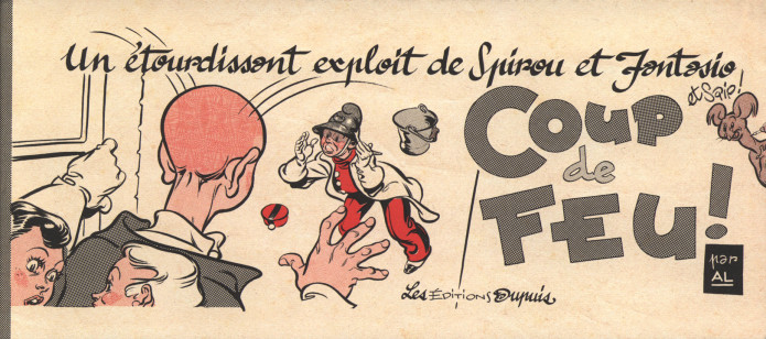 "'Les 1000 et 1 métiers de Spirou, Fantasio... & Spip: Coup de feu!' cover (""The 1001 Jobs of Spirou & Fantasio... and Spip: Burn Outs""; ill. Al Severin; Copyright (c) 2016 Dupuis and the artist; supplement to JdS #4066)"