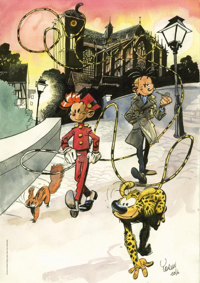 Spirou, Fantasio and the Marsupilami in front of the Le Mans cathedral; limited poster for the Bulle bookstore (ill. Yoann; Copyright (c) 2016 Dupuis and the artist; image from ouest-france.fr)