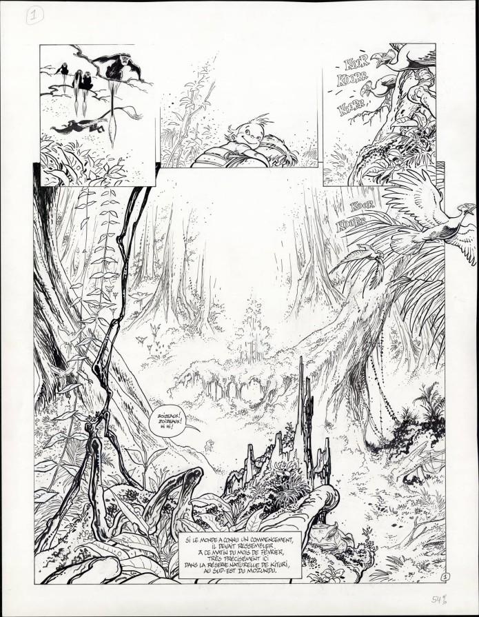 "Spirou 'L'Okapi blanc' p.1 inks (""The White Okapi""; ill. Frank Pé; Copyright (c) 2016 Dupuis and the artist; image from branchesculture.com)"