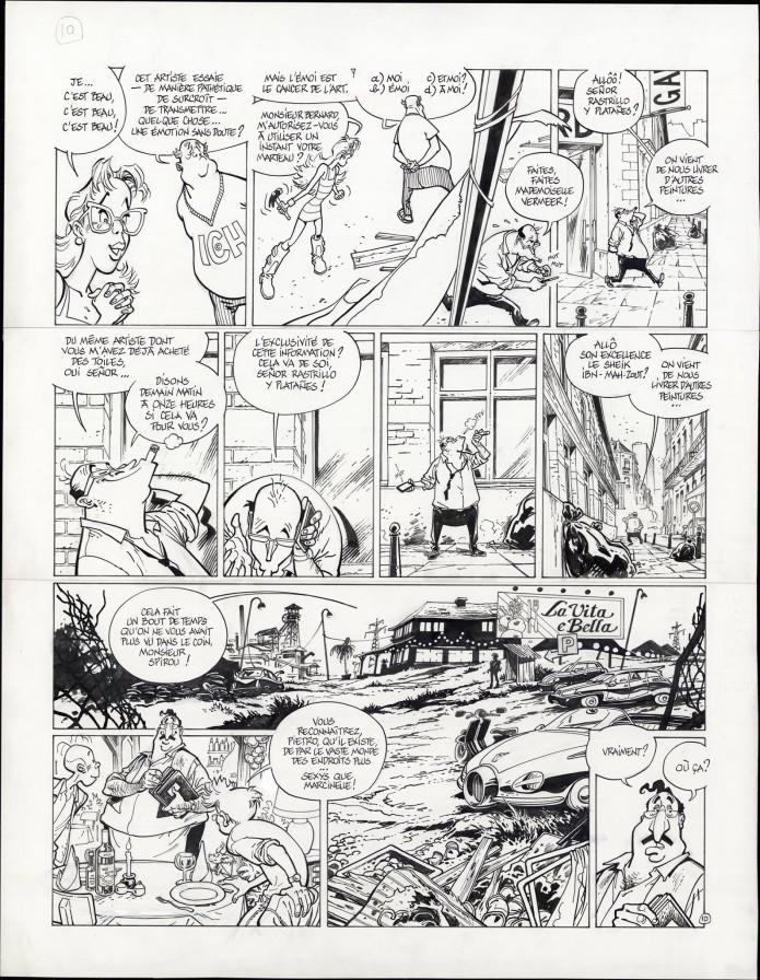 "Spirou 'L'Okapi blanc' p.10 inks (""The White Okapi""; ill. Frank Pé & Zidrou; Copyright (c) 2016 Dupuis and the artists; image from branchesculture.com)"
