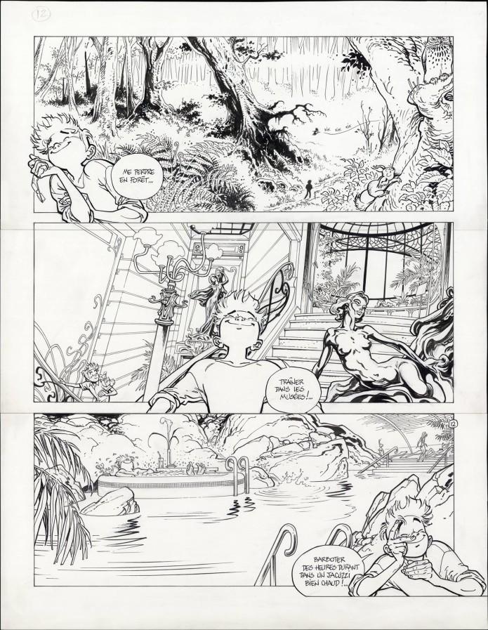 "Spirou 'L'Okapi blanc' p.12 inks (""The White Okapi""; ill. Frank Pé & Zidrou; Copyright (c) 2016 Dupuis and the artists; image from branchesculture.com)"