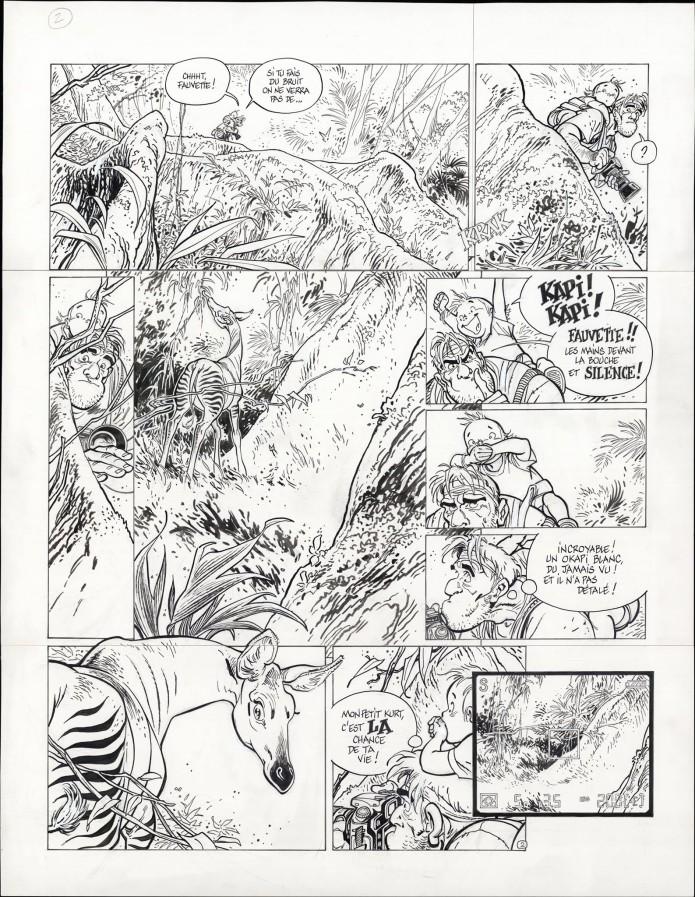 "Spirou 'L'Okapi blanc' p.2 inks (""The White Okapi""; ill. Frank Pé; Copyright (c) 2016 Dupuis and the artist; image from branchesculture.com)"