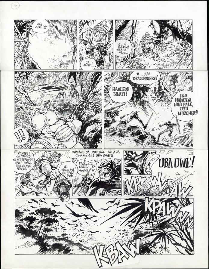 "Spirou 'L'Okapi blanc' p.3 inks (""The White Okapi""; ill. Frank Pé; Copyright (c) 2016 Dupuis and the artist; image from branchesculture.com)"