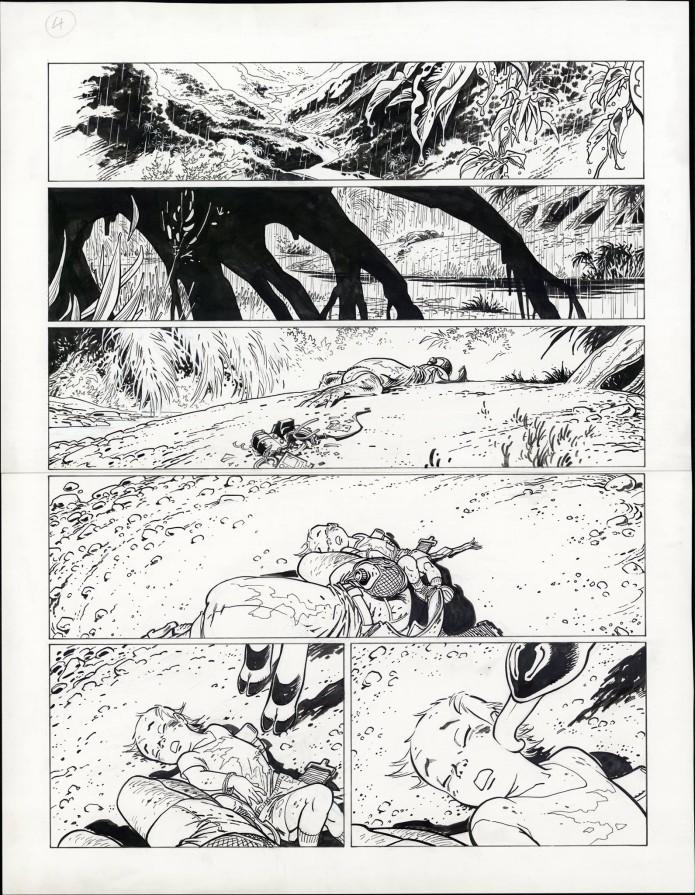 "Spirou 'L'Okapi blanc' p.4 inks (""The White Okapi""; ill. Frank Pé; Copyright (c) 2016 Dupuis and the artist; image from branchesculture.com)"