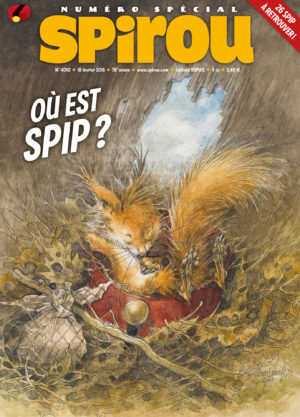 Journal de Spirou #4010 cover (ill. René Hausman; Copyright (c) 2015 Dupuis and the artist; image from izneo.com)