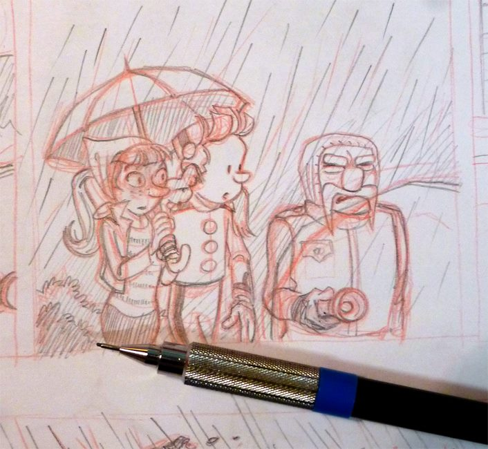 Pencil for story in a Journal de Spirou special issue (ill. Pascal Jousselin; Copyright (c) 2016 Dupuis and the artist; photo by Jousselin; image from facebook.com)