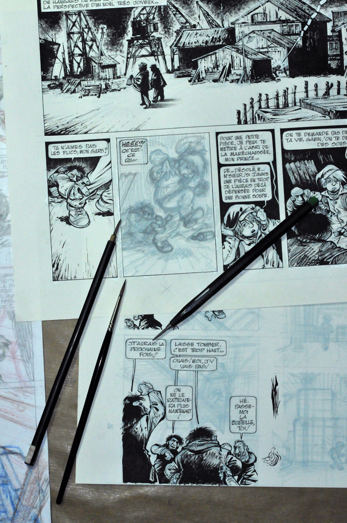 Incomplete pages from 'Ptirou' (ill. Verron & Sente; Copyright (c) Dupuis and the artists; photo by Laurent Verron; image from www.verron-laurent.com)