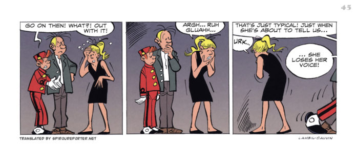 """Spirou's Exquisite Corpse"" p. 45 ('Spirou: Un Cadavre Exquis'; ill. Lambil & Cauvin; Copyright (c) 2011 Dupuis and the artists; SR scanlation)"