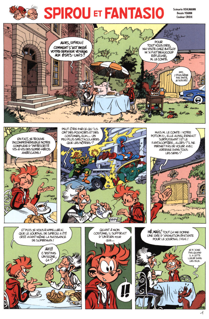 'Supergroom' p. 1, from Journal de Spirou #4080 (ill. Yoann & Vehlmann; Copyright (c) Dupuis and the artists)