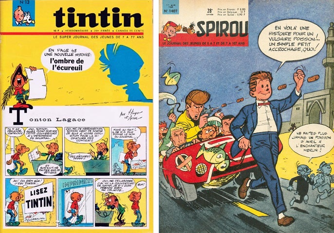 Tintin #13/1965 and Journal de Spirou #1407 (ill. Hugo & Acar and Tillieux; Copyright (c) Lombard, Studios Hergé, Dupuis and the artists; image from elouarnblade.blogspot.com)