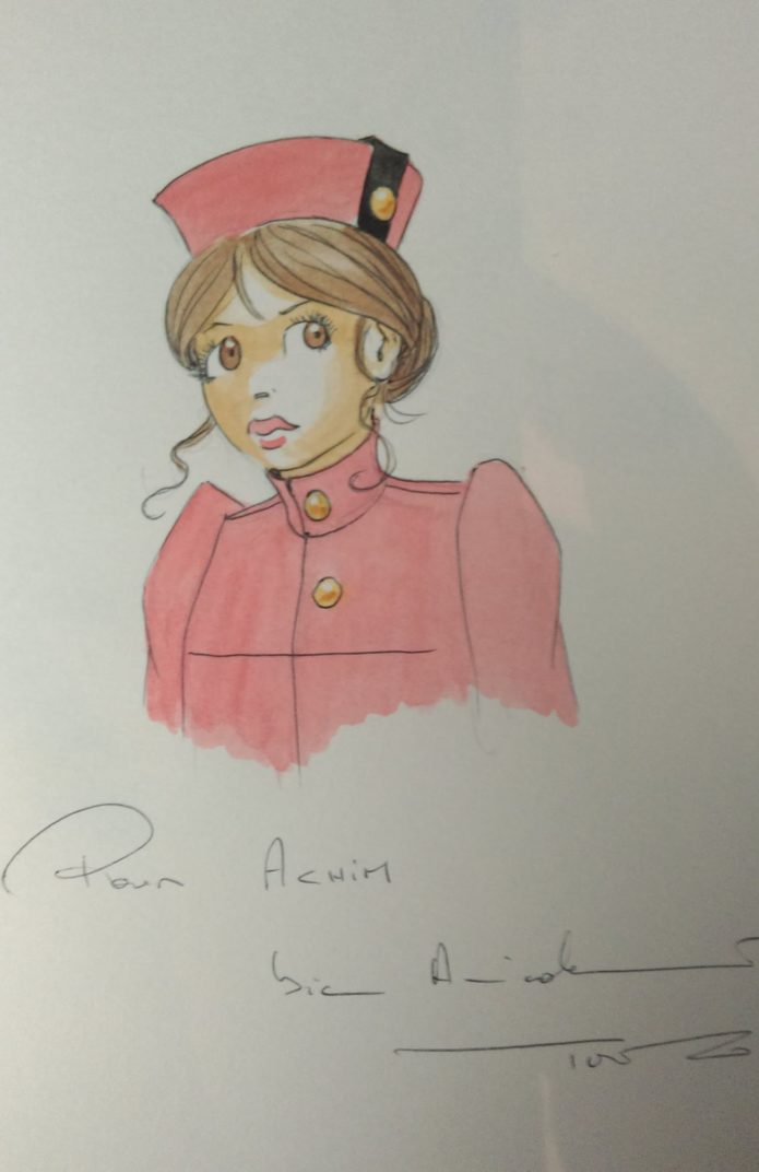 Amandine as Spirou, for Achim Reinecke (ill. Turf; Copyright (c) 2016 the artist; Spirou (c) Dupuis; image from facebook.com)