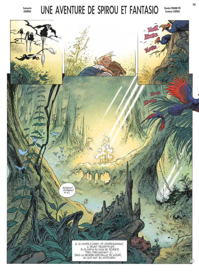 'Journal de Spirou' #4082-4083 p.5, 'La Lumière de Bornéo' p.1 (ill. Frank Pé & Zidrou; Copyright (c) 2016 Dupuis and the artists; image from izneo.com)