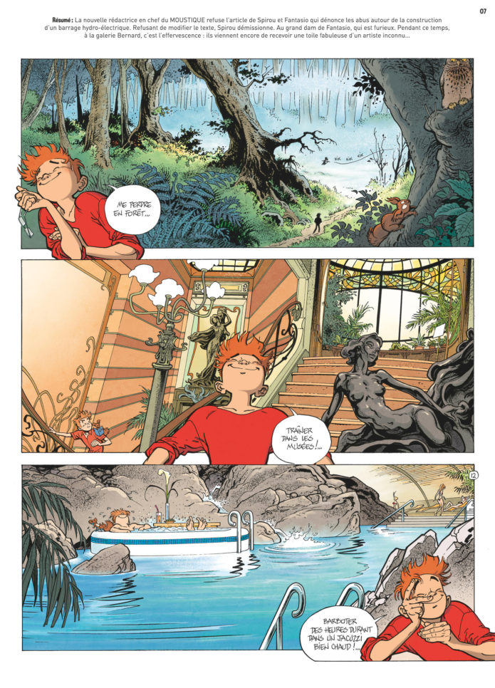 'Journal de Spirou' #4084 p.6, 'La Lumière de Bornéo' p.12 (ill. Frank Pé & Zidrou; Copyright (c) 2016 Dupuis and the artists; image from izneo.com)