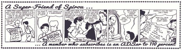 """""""Friends of Spirou Code of Honor 11th Commandment"""", ad for Spirou subscription from 'Les Bonnes Soirées' ('Les Amis de Spirou Code d'Honneur' 11; ill. Jijé; Copyright (c) 1941 by Dupuis and the artist; SR scanlation)"""