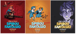 Spirou intégrale covers, vol. 15, 12, 16 (ill. Tome & Janry, Nic & Cauvin; Copyright (c) Dupuis and the artists; image from facebook.com)