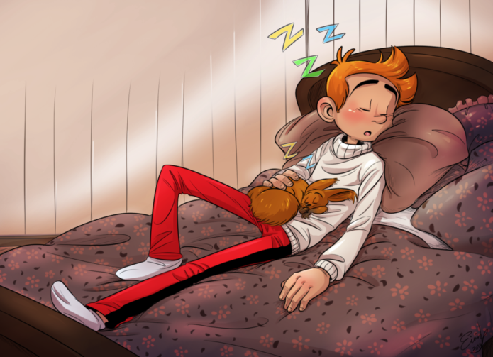 "Spirou and Spip napping (ill. ""CakeNoodlePaddy""; Copyright (c) 2016 the artist; Spirou (c) Dupuis; image from cakenoodlepaddy.deviantart.com)"