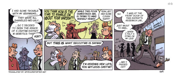 """Spirou's Exquisite Corpse"" p. 46 ('Spirou: Un Cadavre Exquis'; ill. Isa; Copyright (c) 2011 Dupuis and the artist; SR scanlation)"