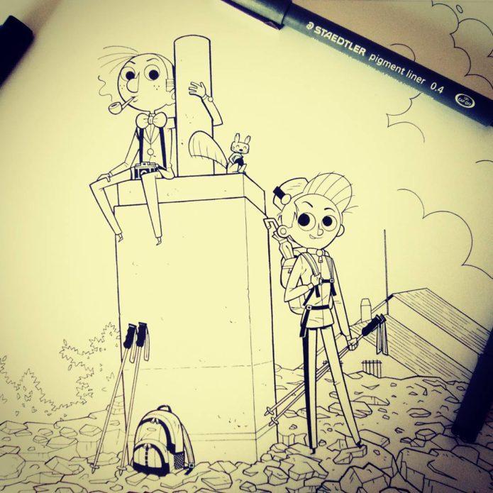 Spirou, Fantasio & Spip (ill. Pol Cunyat; Copyright (c) 2016 the artist; Spirou (c) Dupuis; image from instagram.com/polcunyatgas)