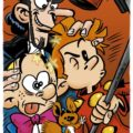 Spirou, Fantasio and Spip selfie, with Zorglub photobomb (ill. Santi Jurado; Copyright (c) 2015 the artist; Spirou (c) Dupuis; image from viñetario.com)