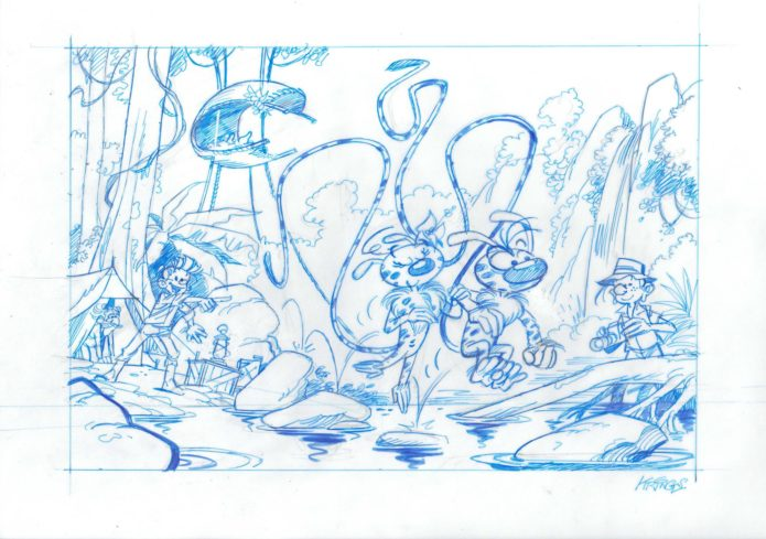 Palombian Expedition work-in-progress (ill. Jean-Marc Krings after Franquin; Copyright (c) 2016 the artist; Spirou (c) Dupuis, Marsupilami (c) Marsu Productions; image from facebook.com)