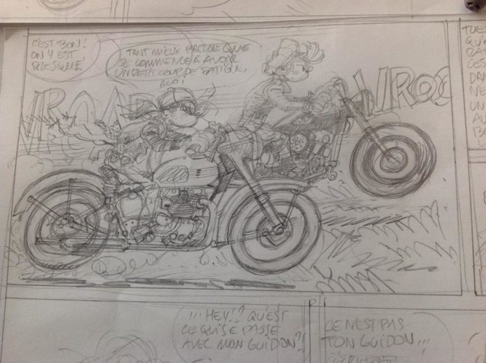 Spirou & Fantasio as bikers, pencil sketch from upcoming story (ill. Yoann & Vehlmann; Copyright (c) 2016 Dupuis and the artists; image from facebook.com/yoann.spirou)