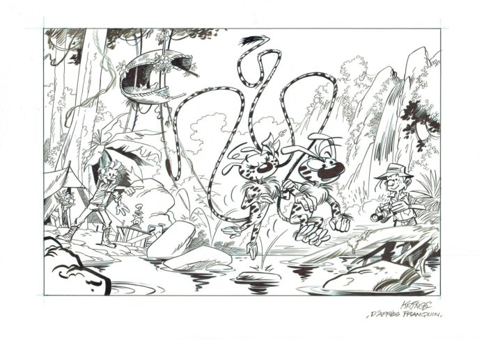 Palombian Expedition (ill. Jean-Marc Krings after Franquin; Copyright (c) 2016 the artist; Spirou (c) Dupuis, Marsupilami (c) Marsu Productions; image from facebook.com)