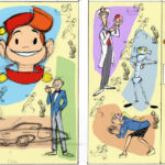 Sketch for Spirou & Fantasio mural in Middelkerke (ill. Hanco Kolk; image from stripspeciaalzaak.be)