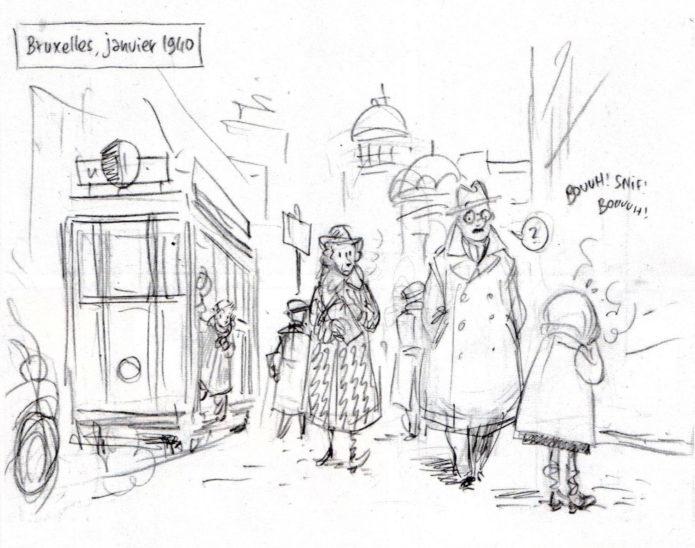 "Pencil sketch excerpt from 'Spirou, ou L'Espoir malgré tout', from Journal de Spirou #4090 (""Spirou; or, Hope Despite Everything""; ill. Émile Bravo; Copyright (c) 2016 Dupuis and the artist; image from emile-bravo.blogspot.com)"