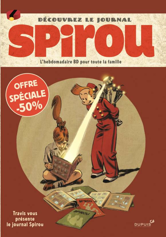Flyer advertising the Journal de Spirou, in the album 'Les Trois fantômes de Tesla' (ill. Guilhem Bec; Copyright (c) Dupuis and the artist; image from facebook.com)