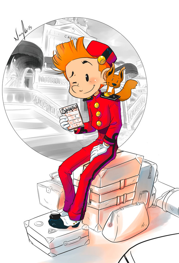 "Spirou and Spip by Grand Casino del Sardinero, Santander, Spain (ill. Christina ""Neryko""; Copyright (c) 2015 by the artist; Spirou (c) Dupuis; image from neryko.deviantart.com)"
