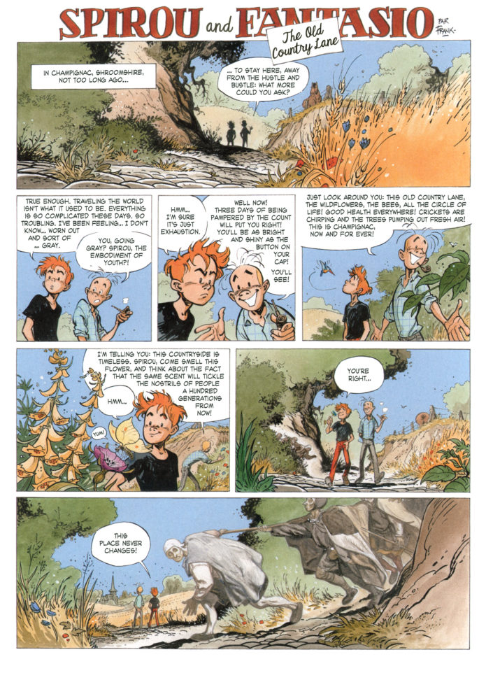 """The Old Country Lane"" p. 1, from JdS #3914 ('La vieux chemin'; ill. Frank Pé; Copyright (c) 2013 by Dupuis and the artist; SR scanlation)"